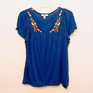 Vintage America Boho Floral Embroidered Tunic Top
